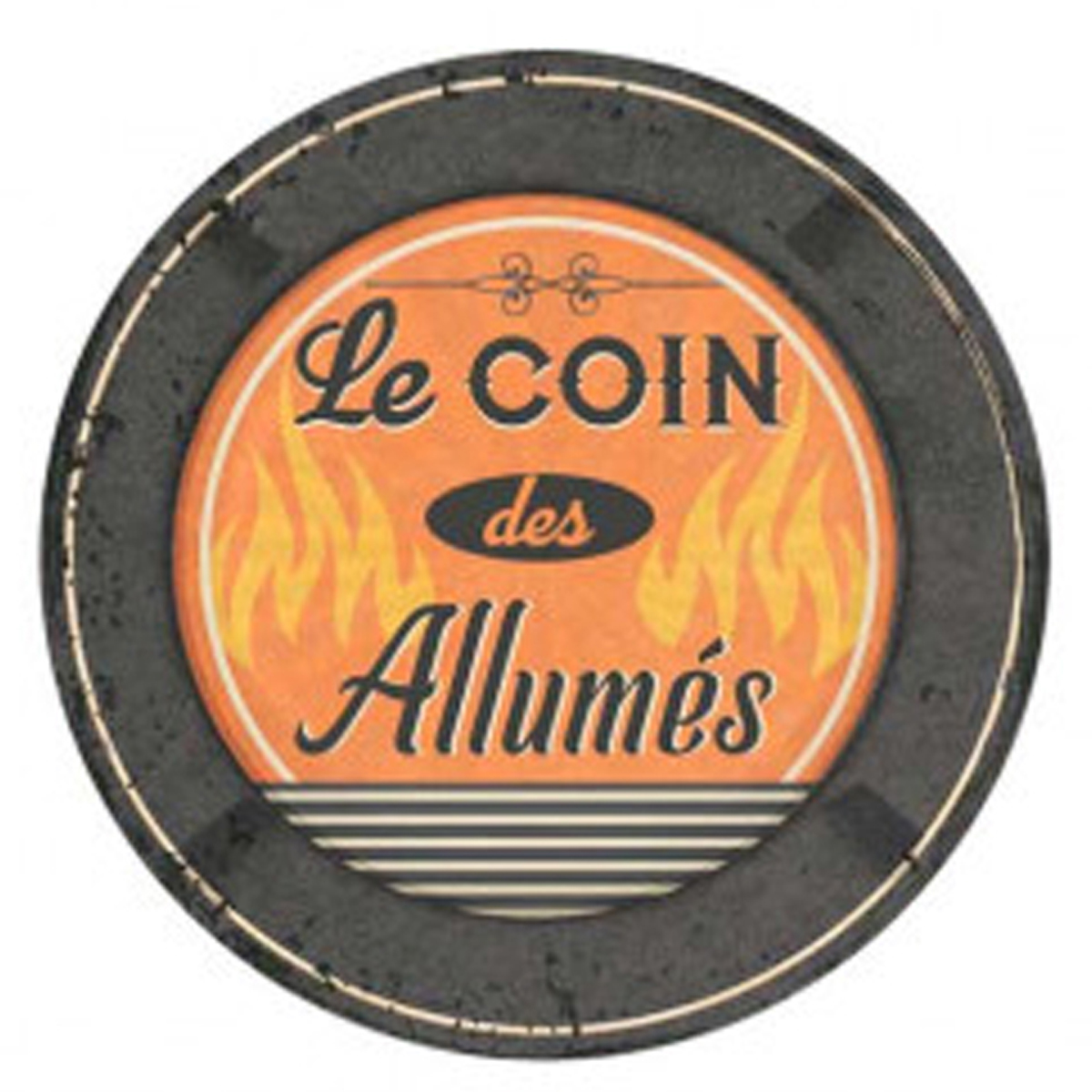 Cendrier métal vintage \'Le coin des Allumés\' - 13 cm - [R3043]