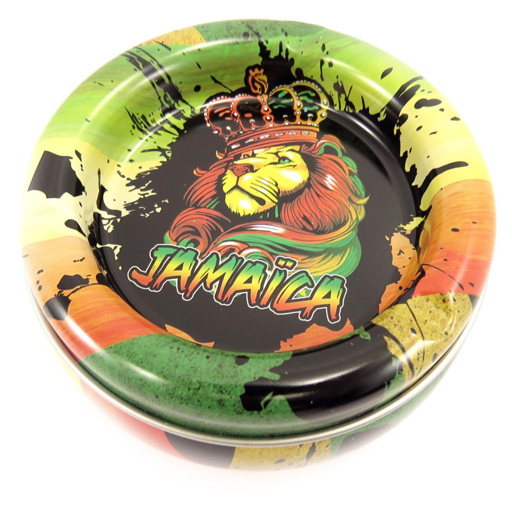 Cendrier boite à tabac métal \'Jamaica\' vert - 10x5 cm - [R3068]