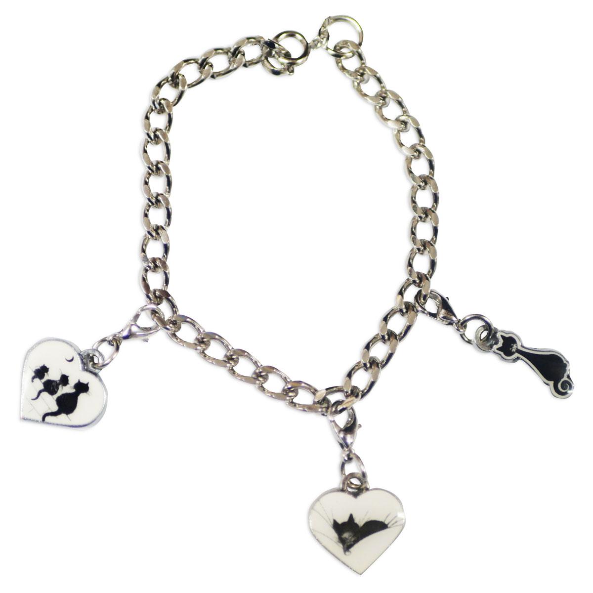 Bracelet créateur \'Chats Dubout\' blanc noir - 195 cm, coeurs 15x13 mm - [R3099]