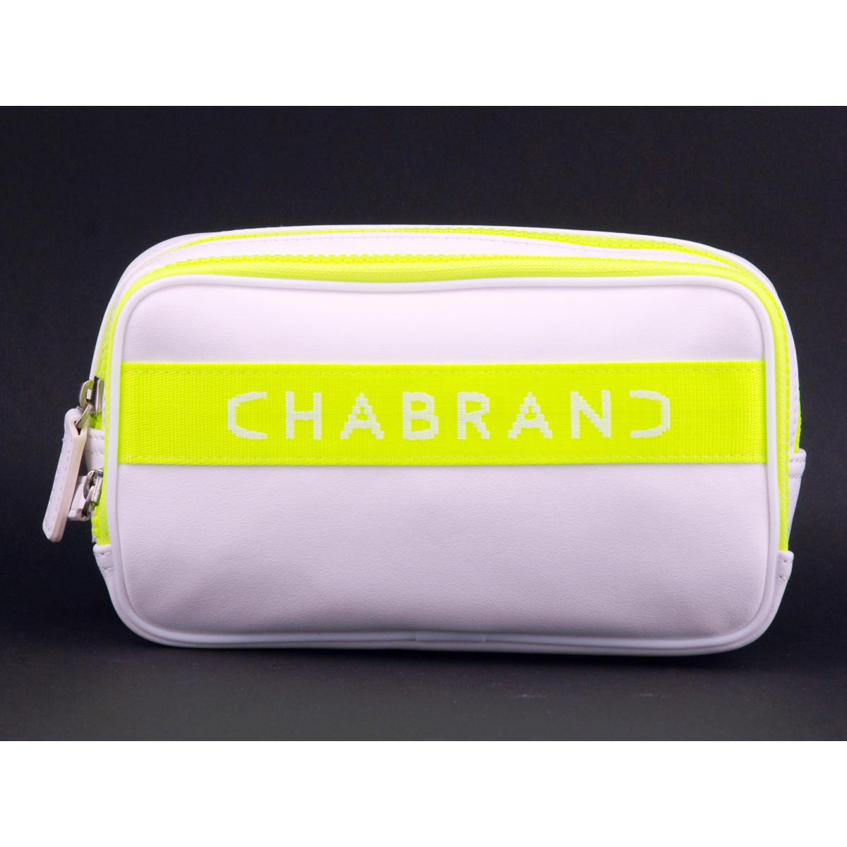 Sac banane \'Chabrand\' blanc fluo - 22x13x6 cm (2 compartiments) - [Z0044]