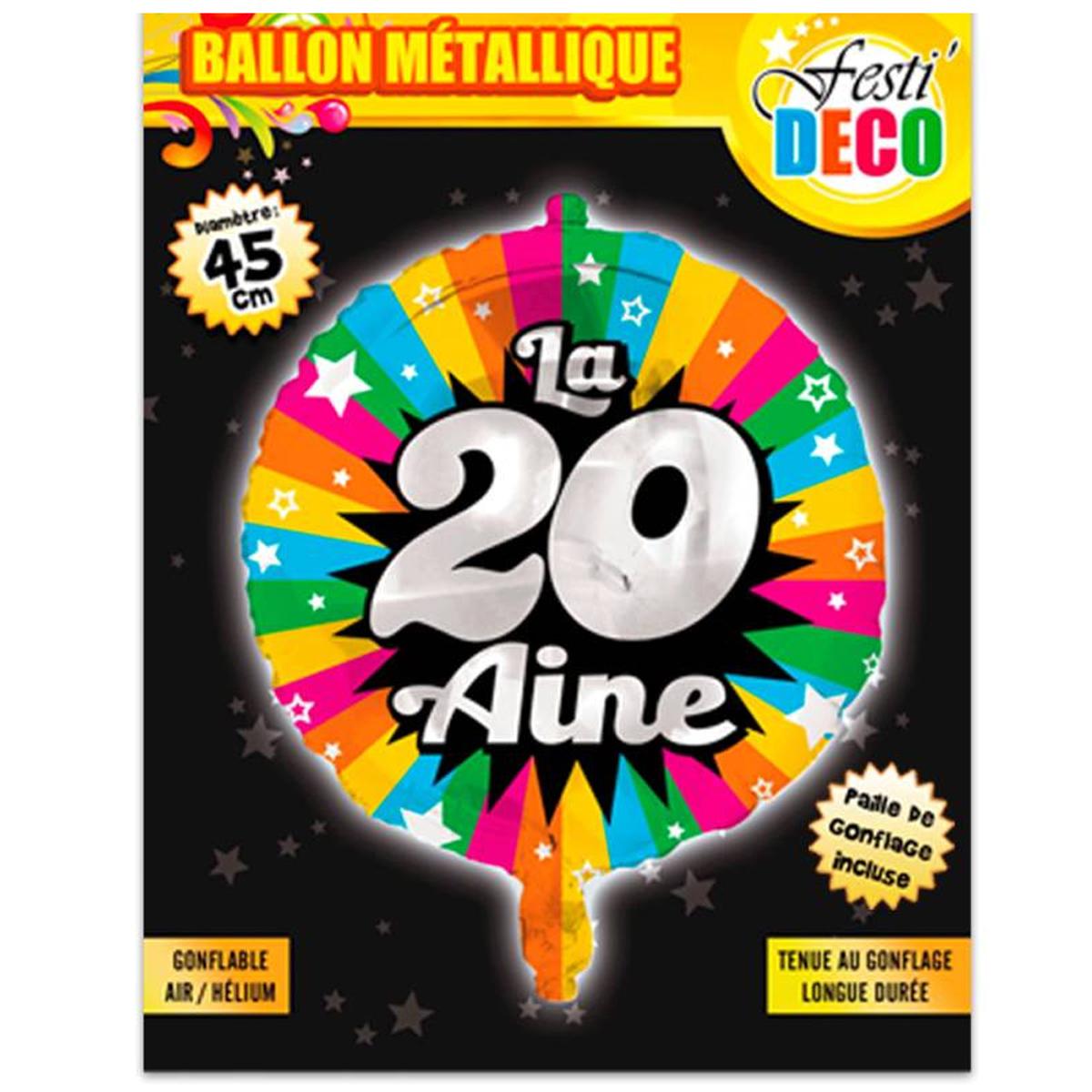 Ballon métallique \'20 ans\' tutti frutti - 45 cm - [P5352]