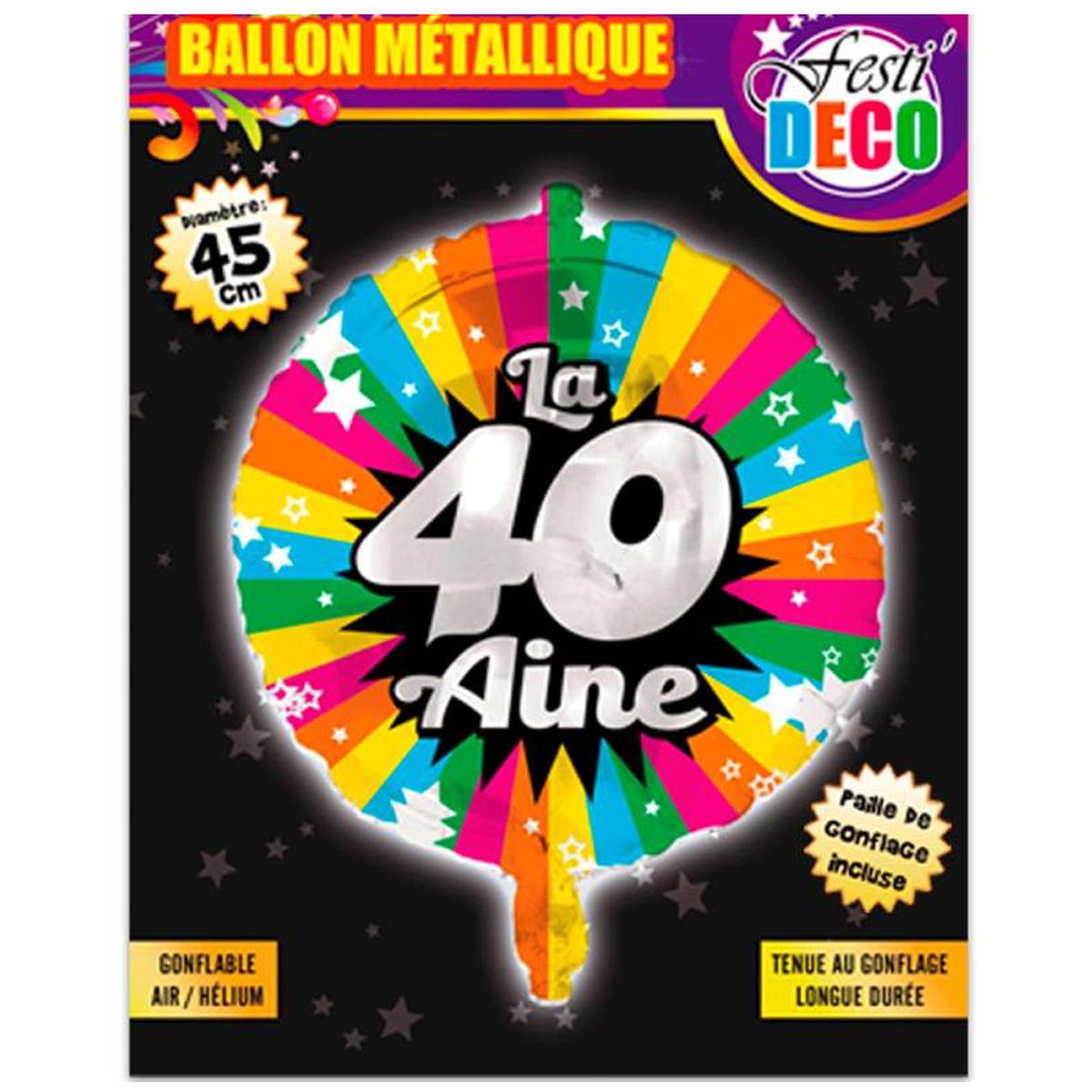Ballon métallique \'40 ans\' tutti frutti - 45 cm - [P5354]