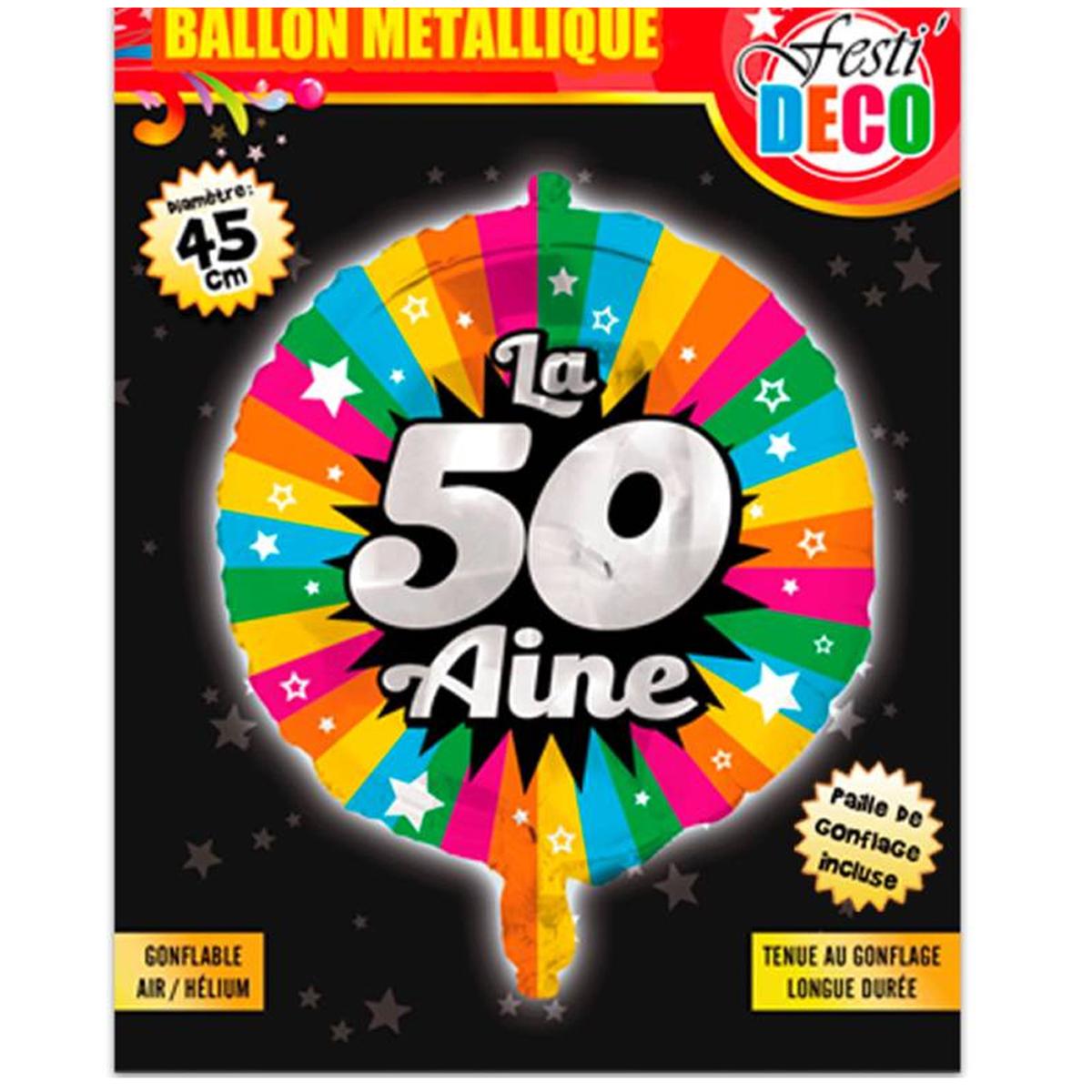 Ballon métallique \'50 ans\' tutti frutti - 45 cm - [P5355]