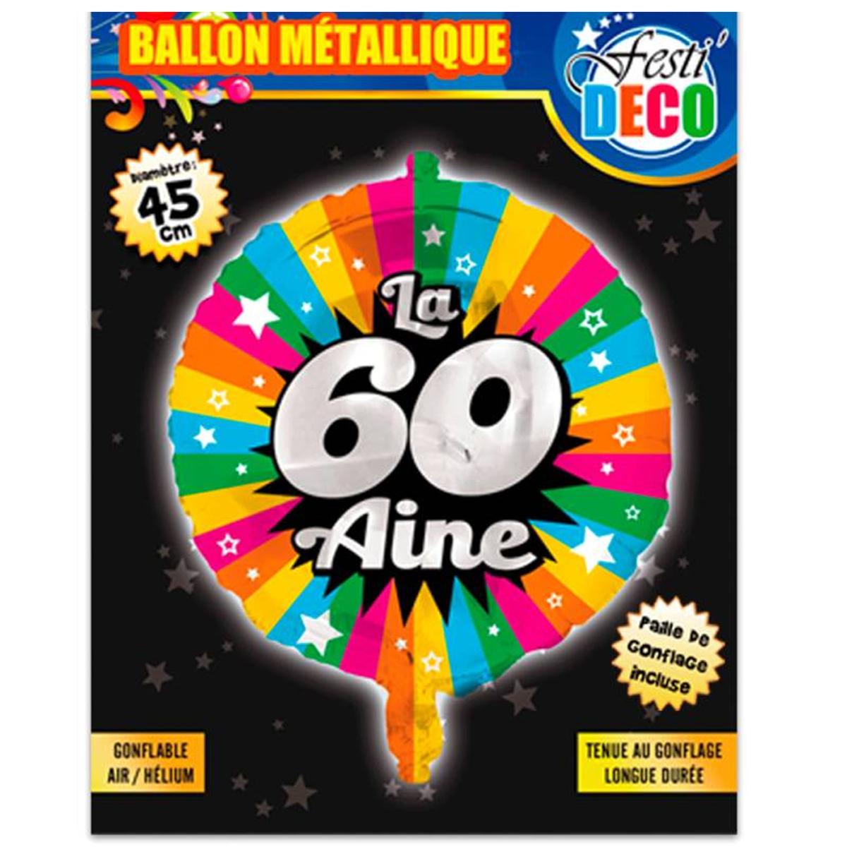 Ballon métallique \'60 ans\' tutti frutti - 45 cm - [P5356]