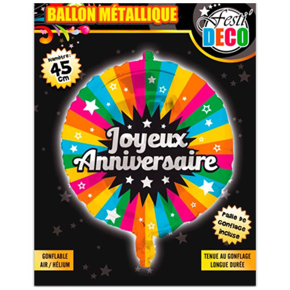 Ballon métallique \'Joyeux Anniversaire\' tutti frutti - 45 cm - [P5357]
