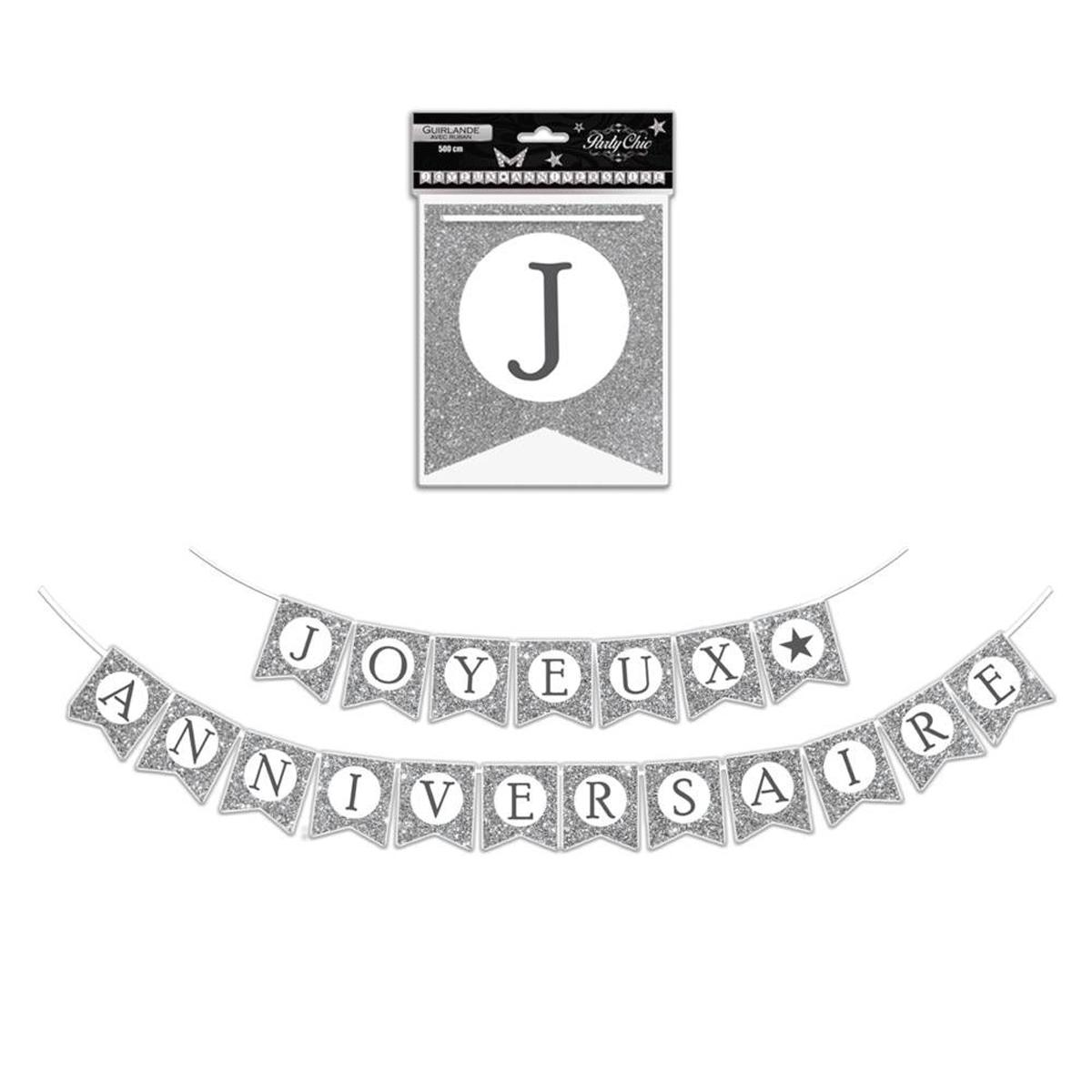 Guirlande \'Joyeux Anniversaire\' gris argenté - 5 m 19 fanions - [P8528]