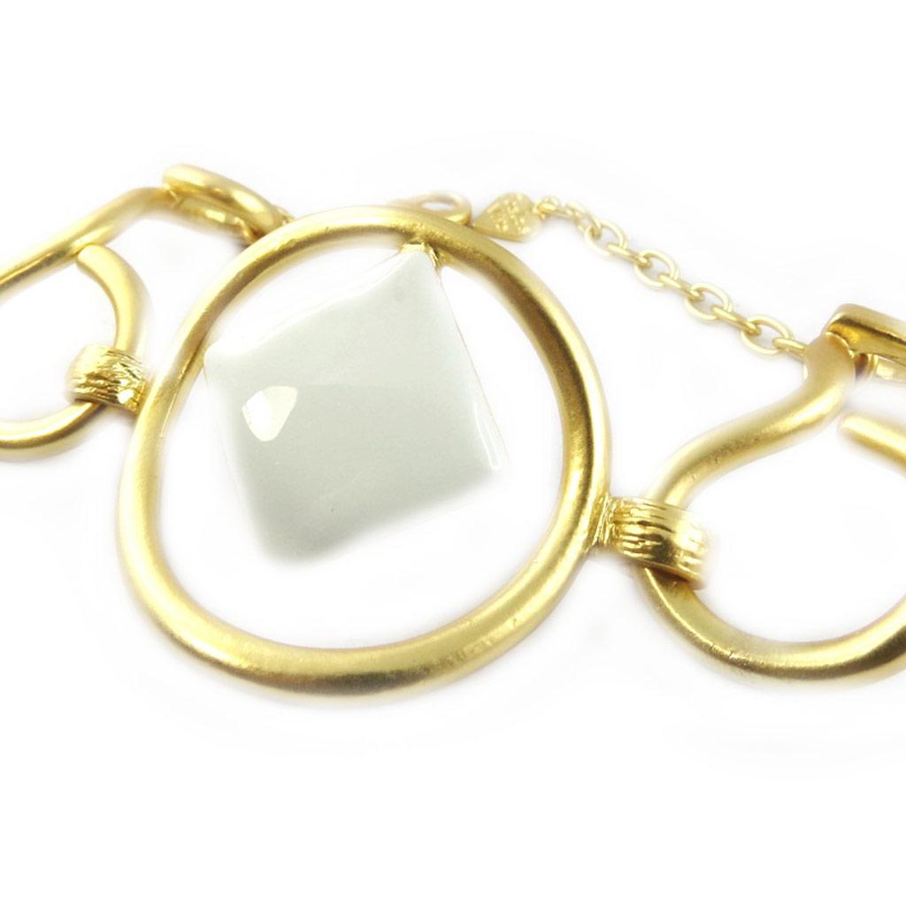 Bracelet Créateur \'Isis\' blanc doré  - [F9478]