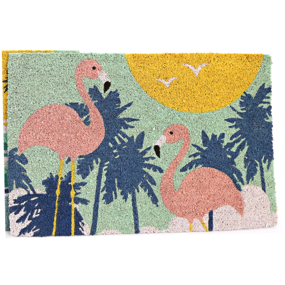 Paillasson paille \'South Beach\' multicolore (Flamant rose) - 60x40 cm - [A0014]