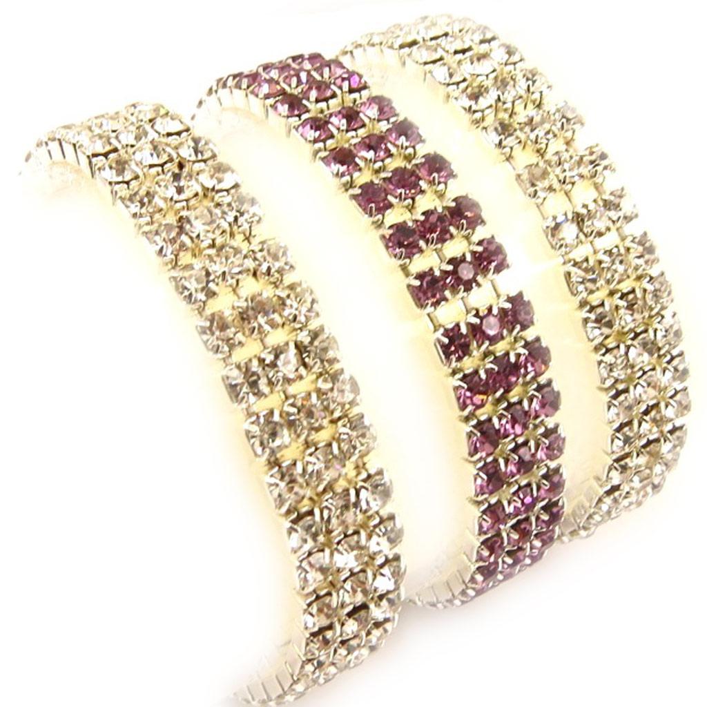 3 bracelets \'Strass\' blanc violet - [K7457]