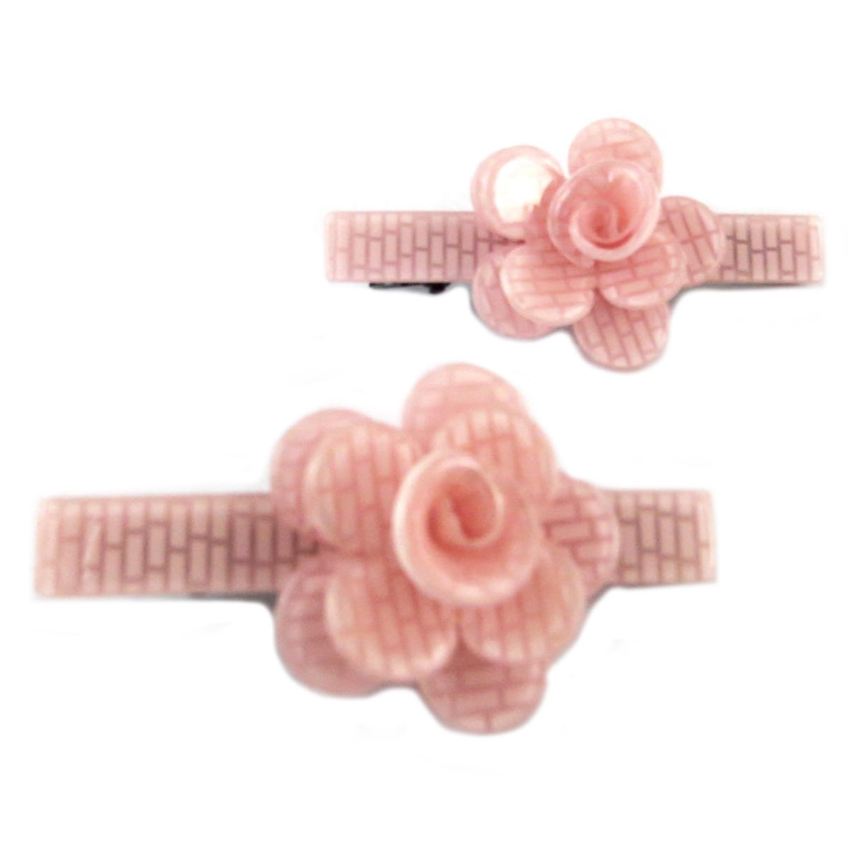 2 barrettes / pinces pélican \'Sissi\' rose (rosa romantica) - 60x25 mm - [Q0073]
