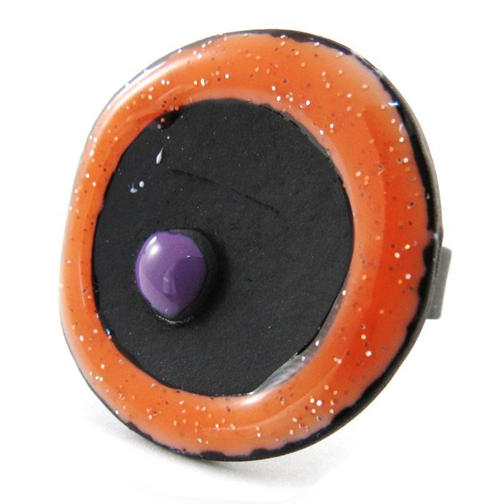 Bague Créateur \'Arlequin\' orange - [J1863]