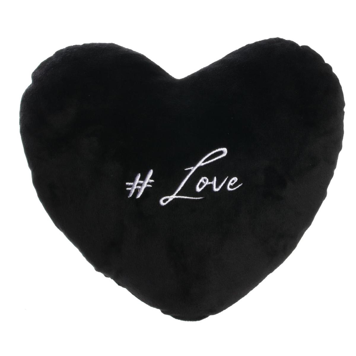 Coussin velours \'Mots d\'Amour\' noir (#love) - 30x30 cm - [Q3266]