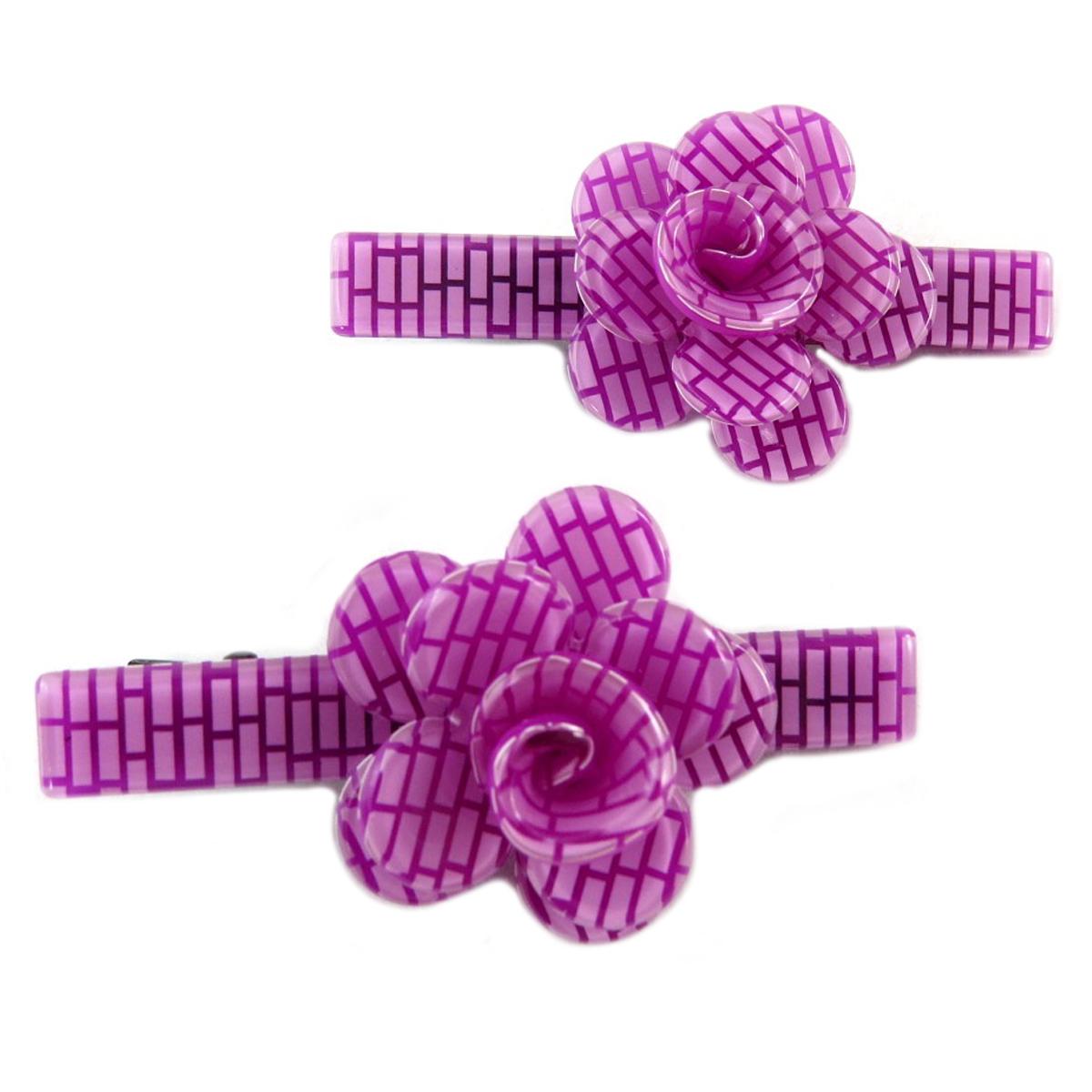 2 barrettes / pinces pélican \'Sissi\' violet (rosa romantica) - 60x25 mm - [Q0074]