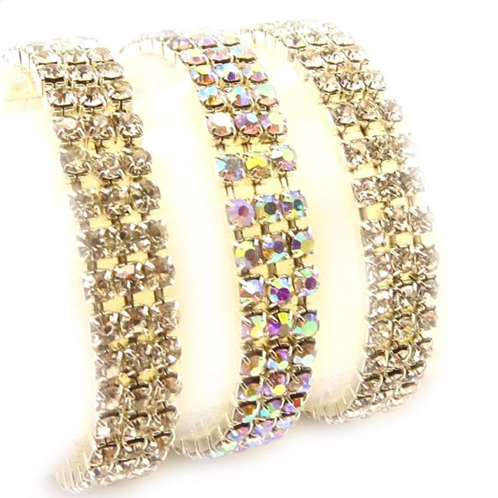 3 bracelets \'Strass\' blanc boréal - [K7459]