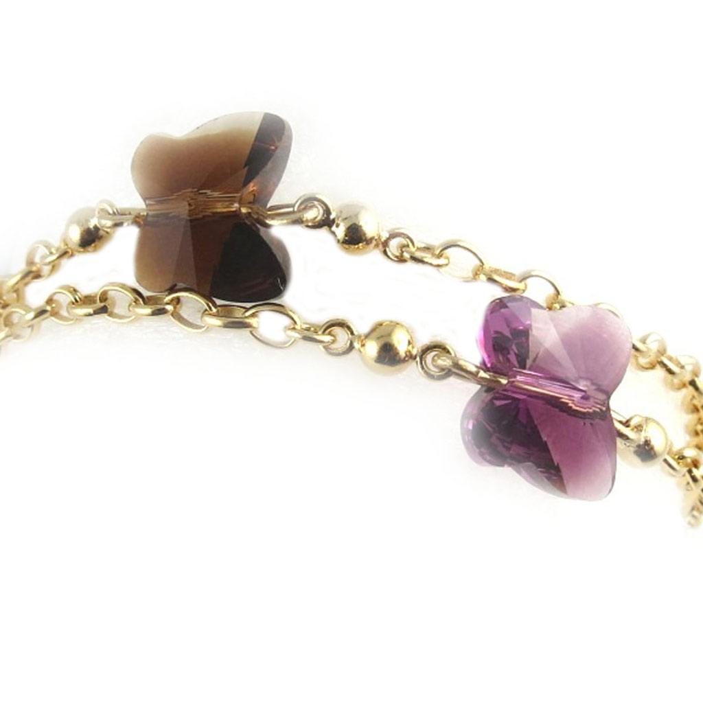 Bracelet Plaqué Or \'Papillon de Cristal\' marron violet - [L0100]