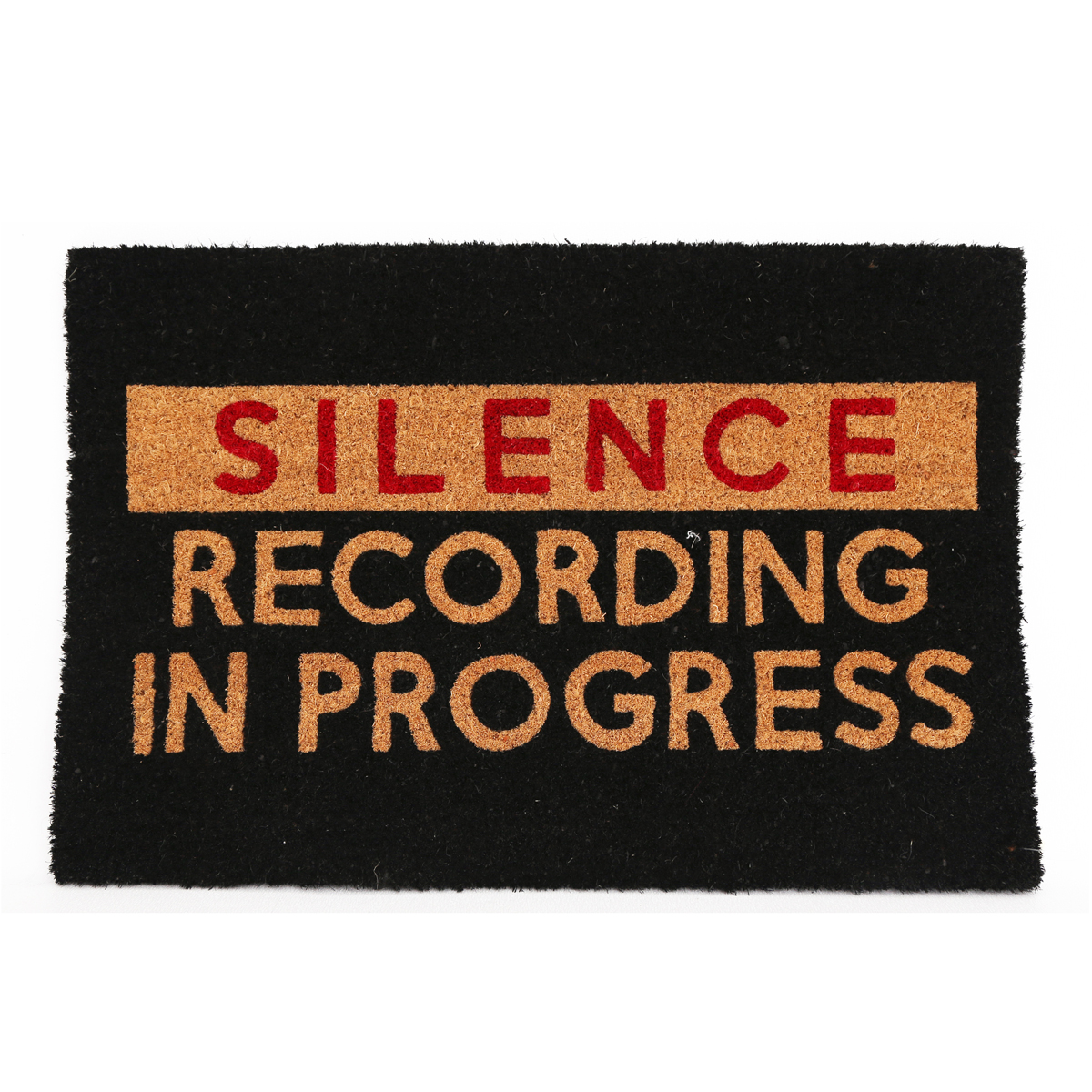 Paillasson paille \'Silence - recording in progress\' noir rouge marron - 60x40 cm - [A0018]