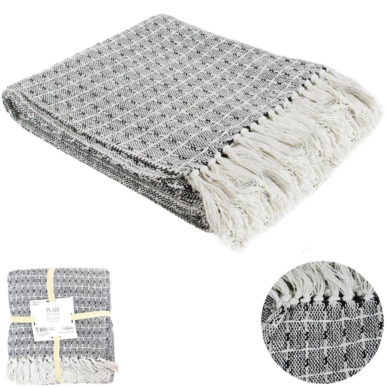 Plaid créateur coton \'Boho\' gris blanc - 120x150 cm - [Q4757]