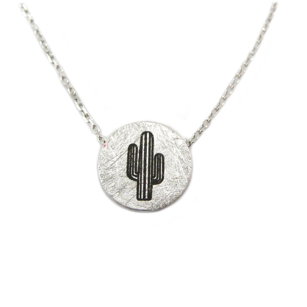 Collier artisanal \'Cactus\' argenté - 12 mm - [Q6134]