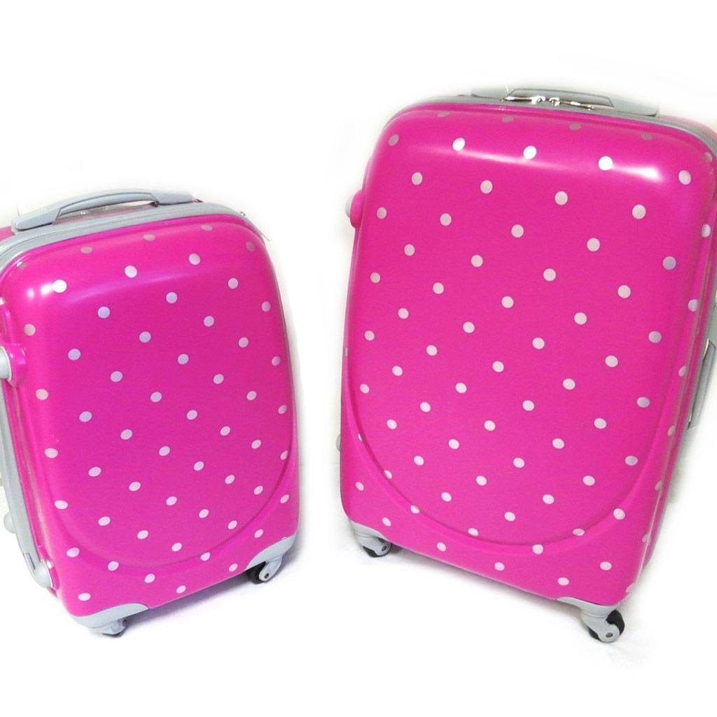 Set 2 valises ABS \'Petits Pois\' rose (50/60 cm) - [M2202]