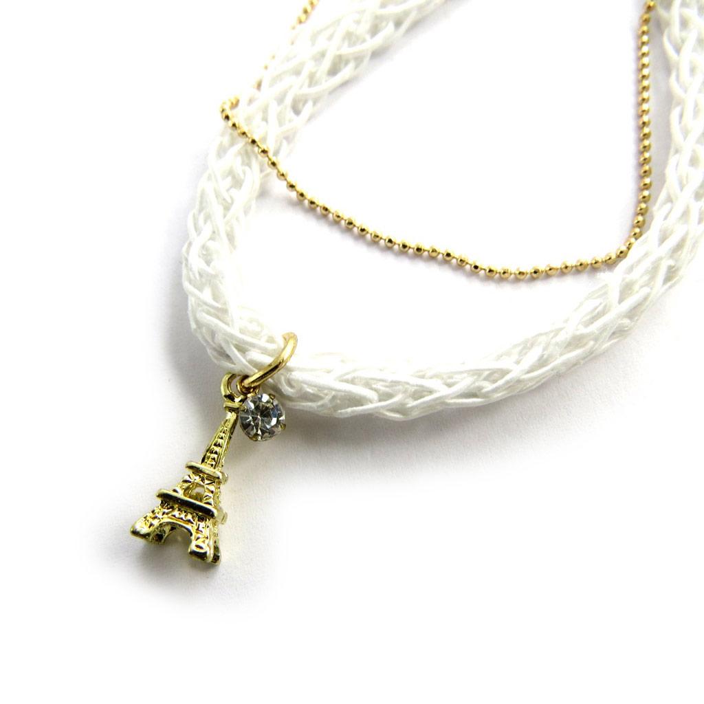 Bracelet \'Tour Eiffel\' blanc doré - [N1693]