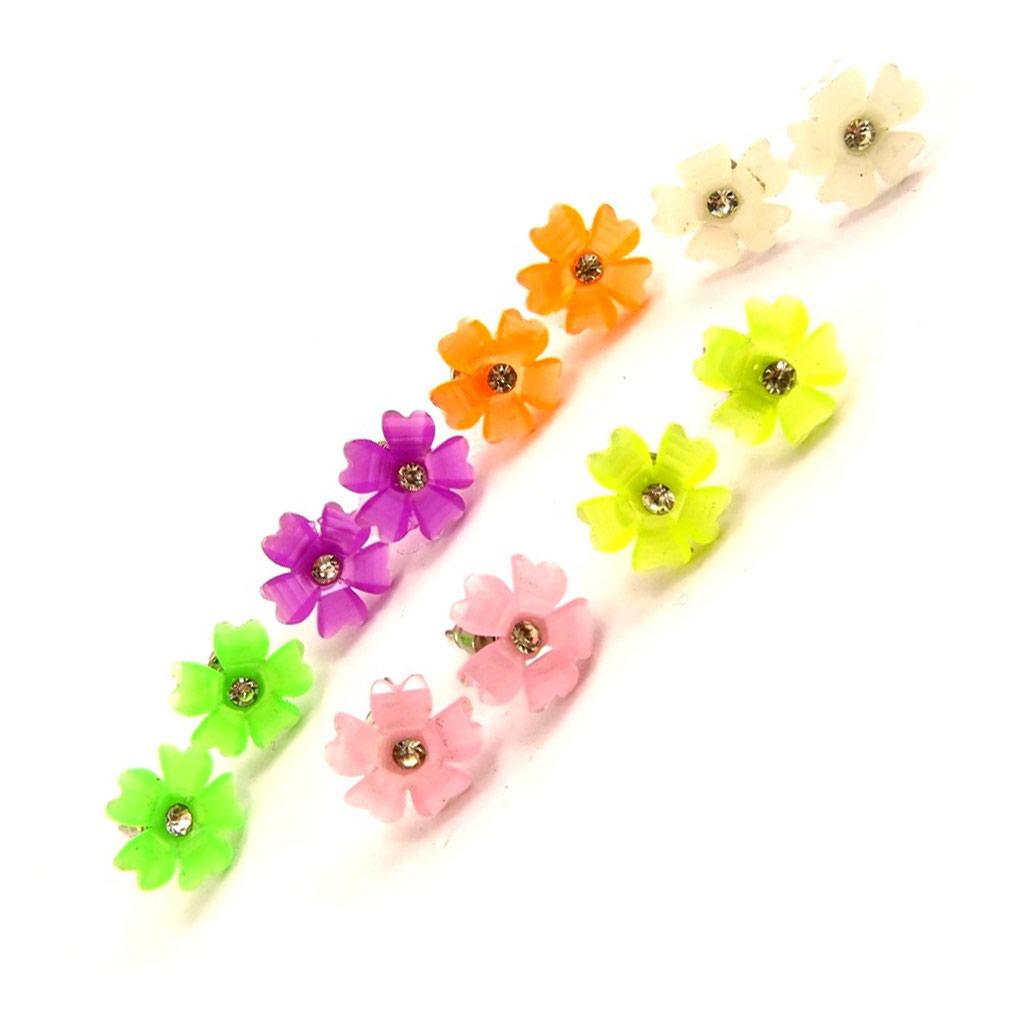 6 paires de boucles \'Flora\' tutti frutti  - [K7469]