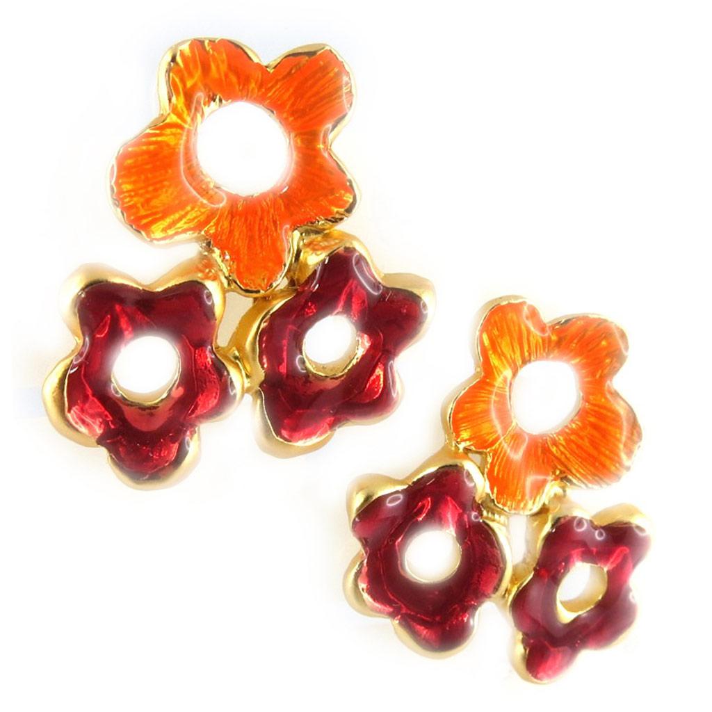 Boucles Créateur \'Flora\' orange rouge  - [F9539]