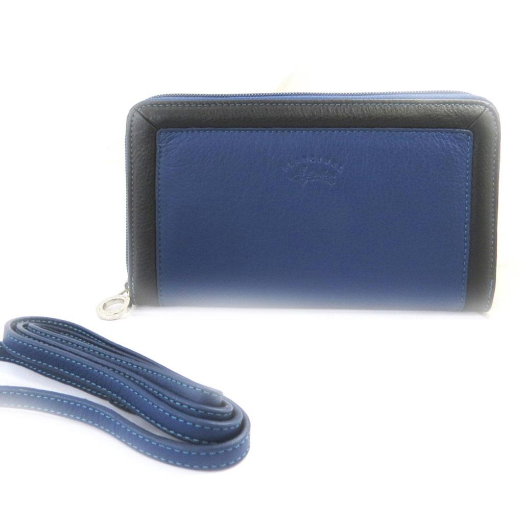 Grand porte-monnaie zippé \'Troubadour\' bleu noir - [L8674]