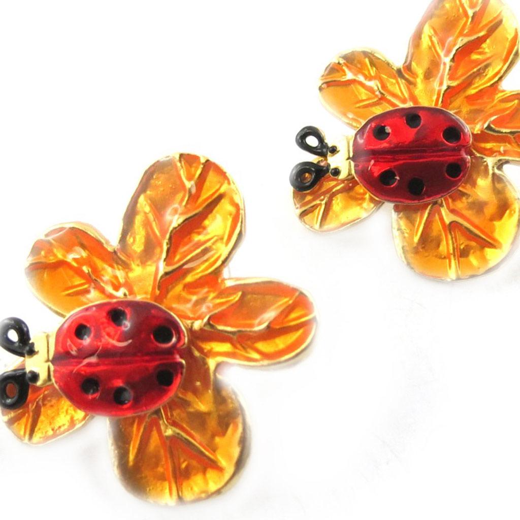 Boucles Créateur \'Flora\' rouge orange - [F9545]