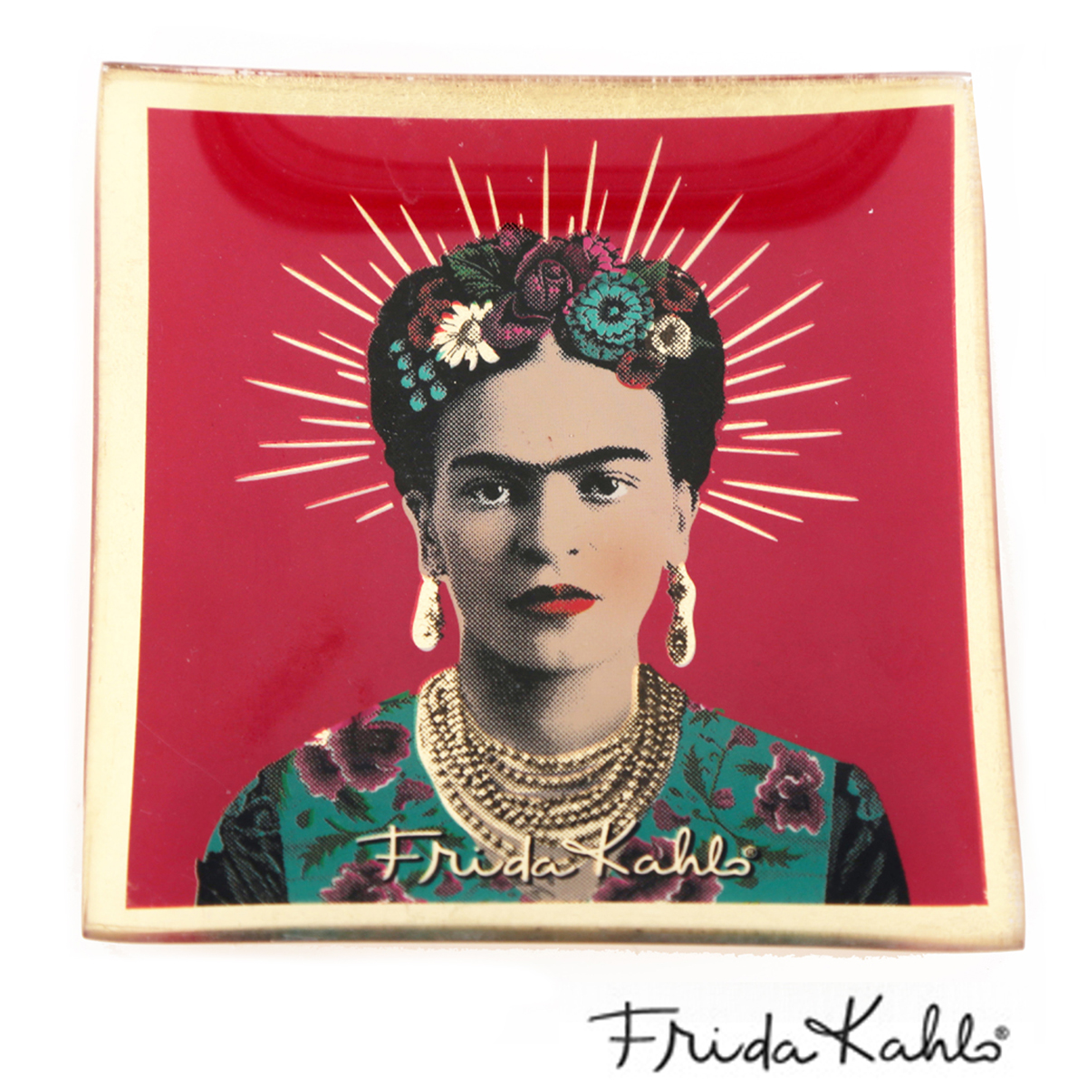 Coupelle vide poches verre \'Frida Kahlo\' rose - 10x10 cm - [A0032]