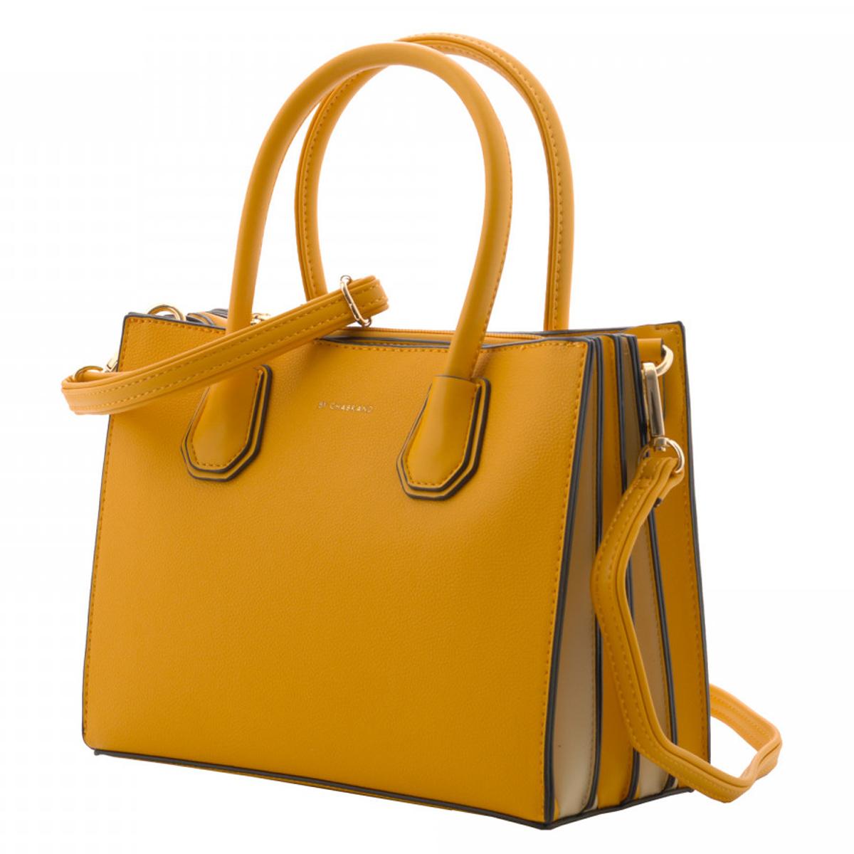 Sac créateur \'Chabrand\' jaune (3 compartiments) - 25x195x11 cm - [R1799]