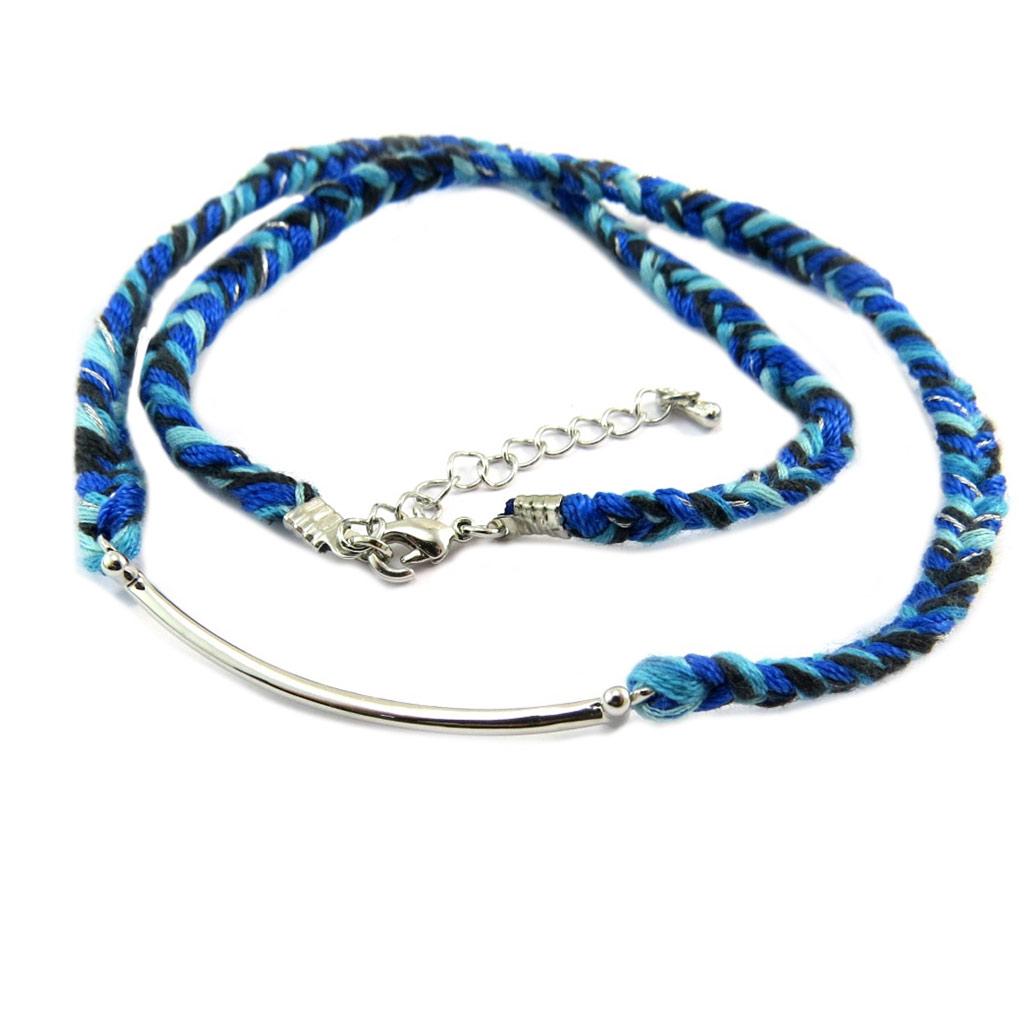 Bracelet ethnique \'Kilimanjaro\' bleu argenté - [P3580]