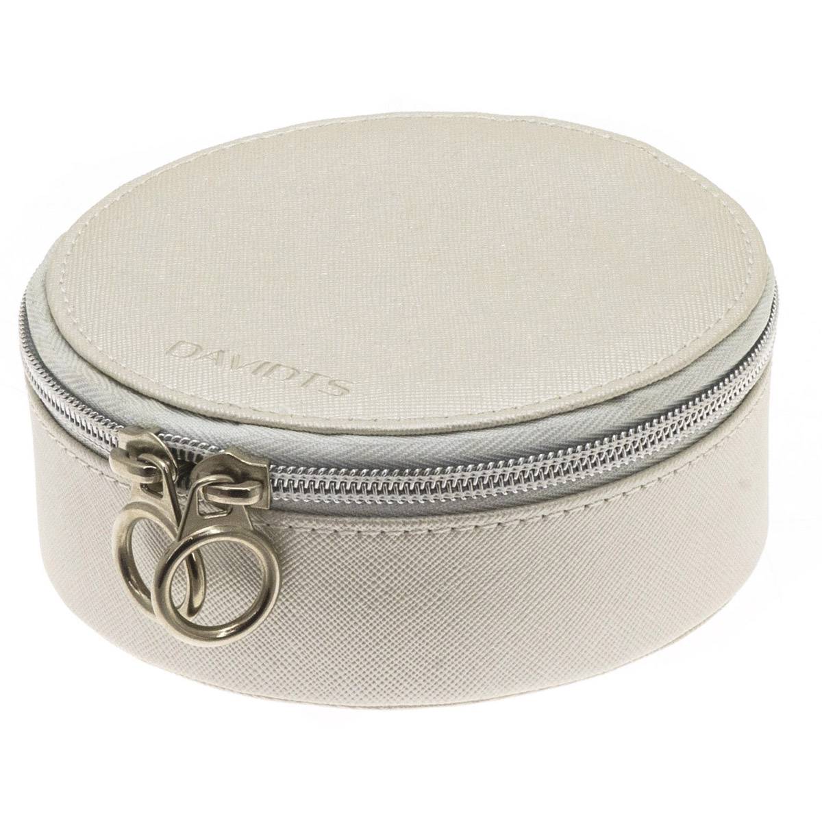 Coffret à bijoux zippé \'Zip\'n go\' beige satiné - 135x7 cm - [Q9141]