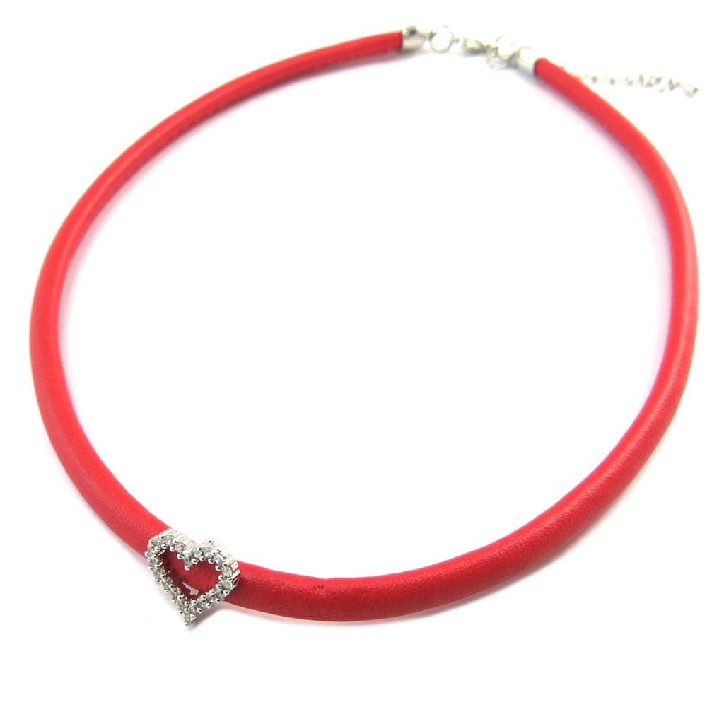 Collier Créateur \'Love\' rouge argenté - [P3583]