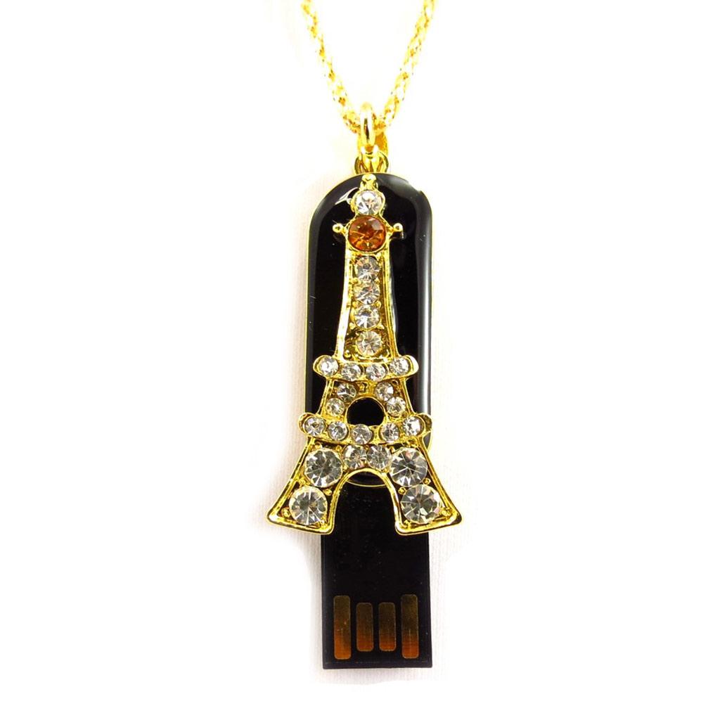 Clé USB collier \'Tour Eiffel\' noir doré (8Go) - [K7486]
