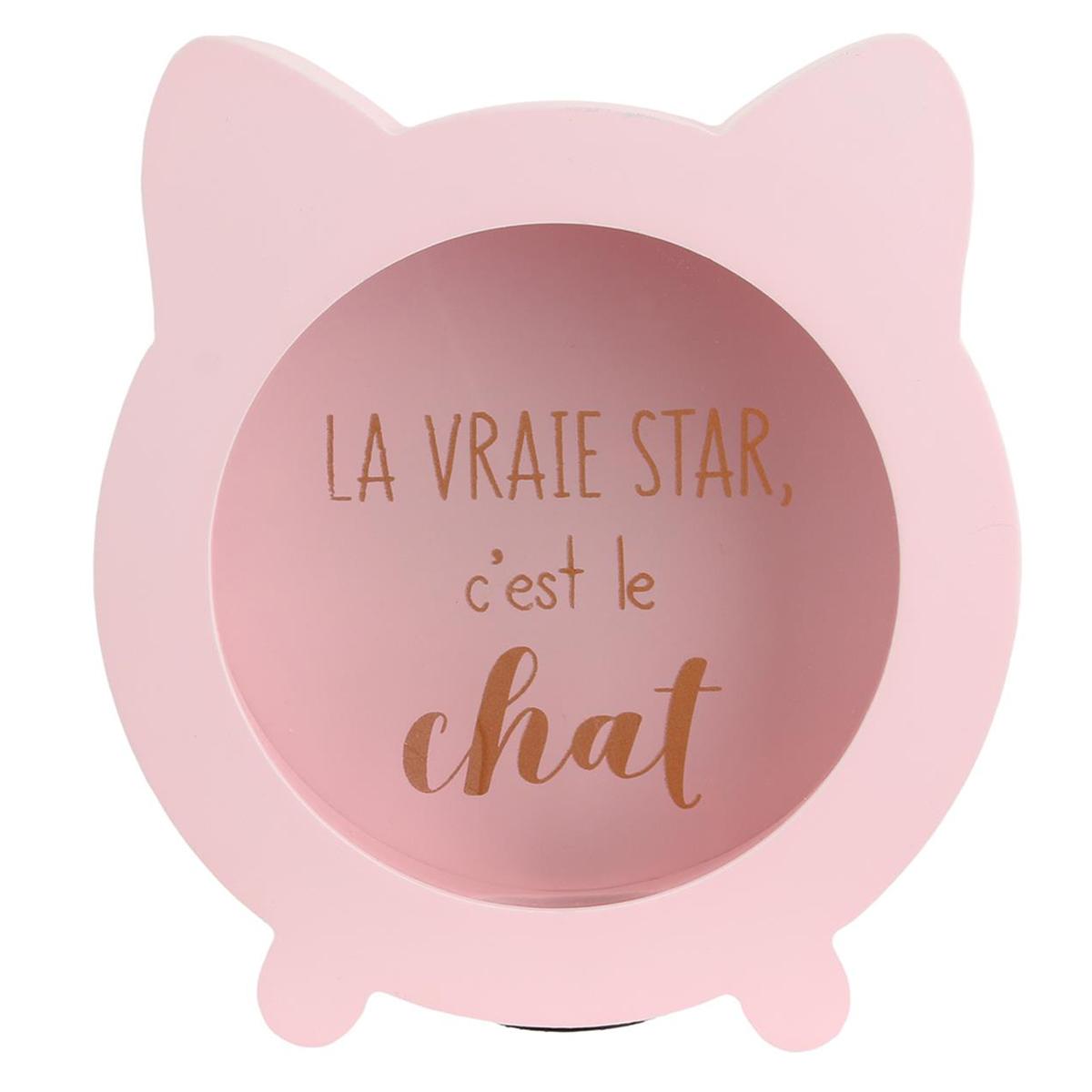 Tirelire bois \'Chats\' rose (La vraie Star, c\'est le Chat) - 165x15 cm - [Q4771]