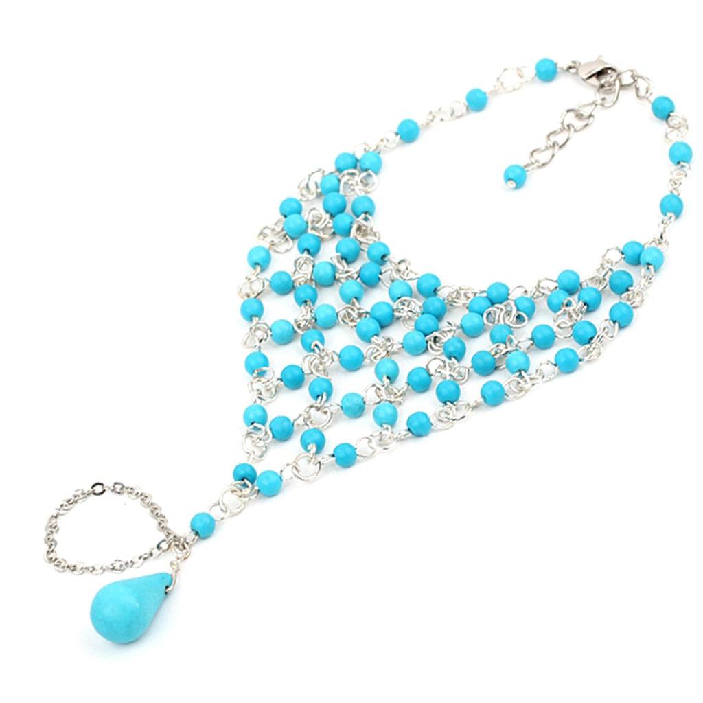 Bracelet bague \'Mineralia\' turquoise  - [J6172]