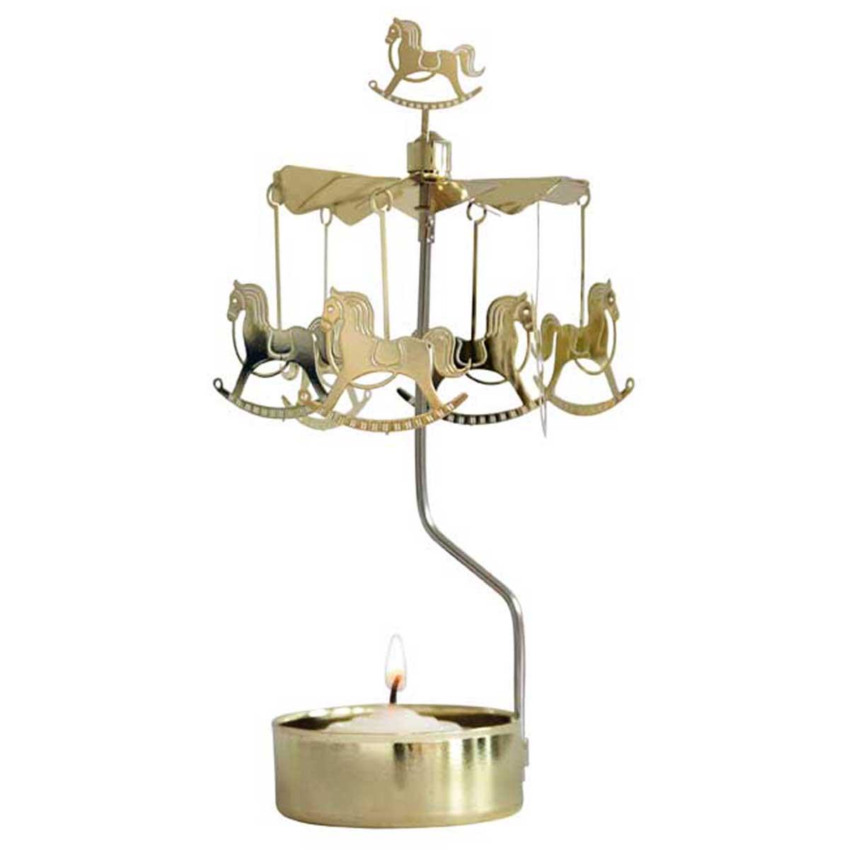 Bougeoir carrousel métal \'Cheval à Bascule\' doré - 16x65 cm - [R0554]