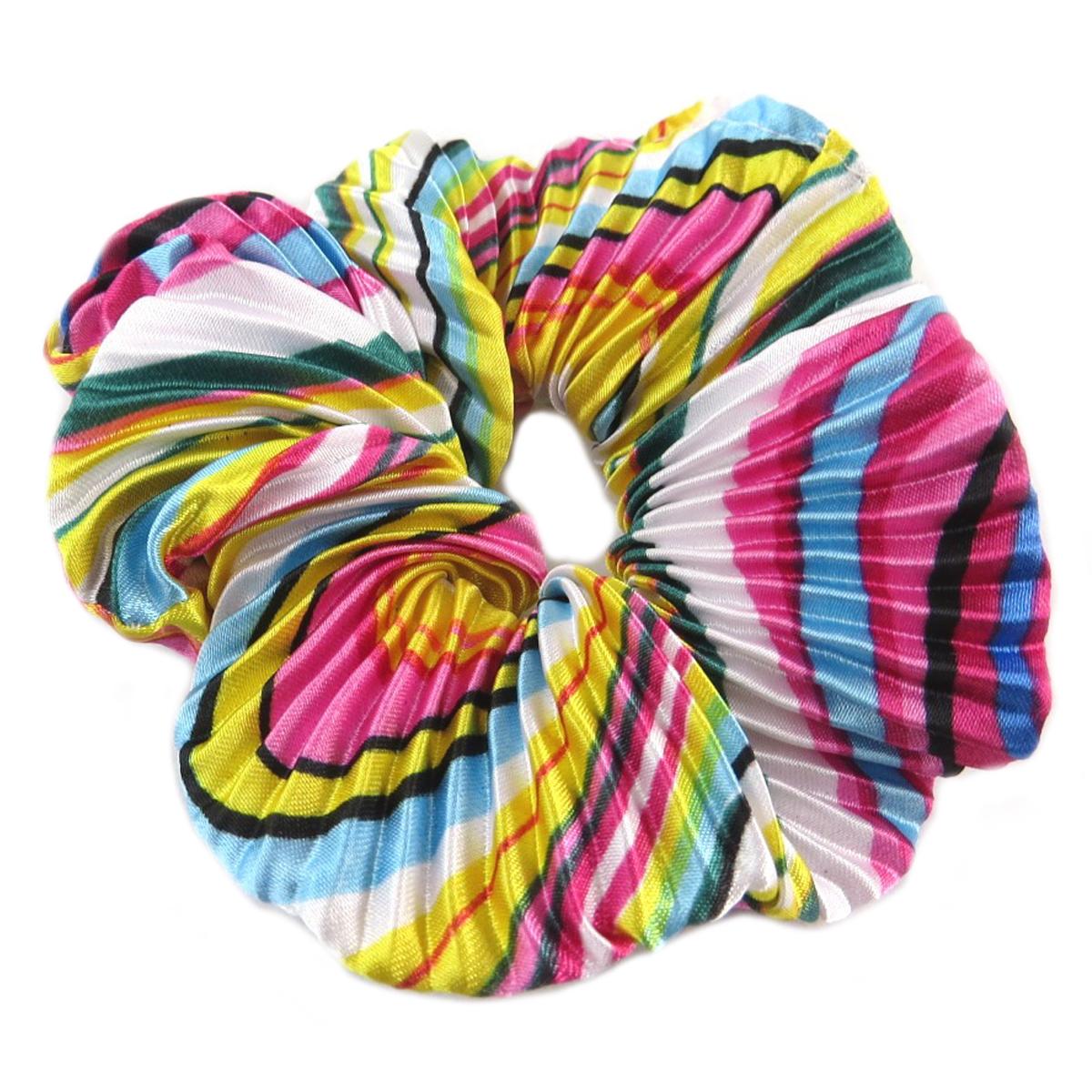 Chouchou créateur \'Sissi\' multicolore (satiné) - largeur 4 cm - [Q0097]