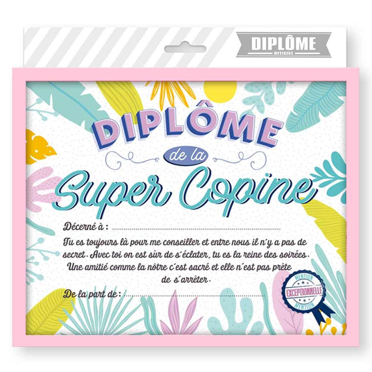 Cadre \'Diplôme de la Super Copine\' multicolore - 25x20x15 cm - [R1808]