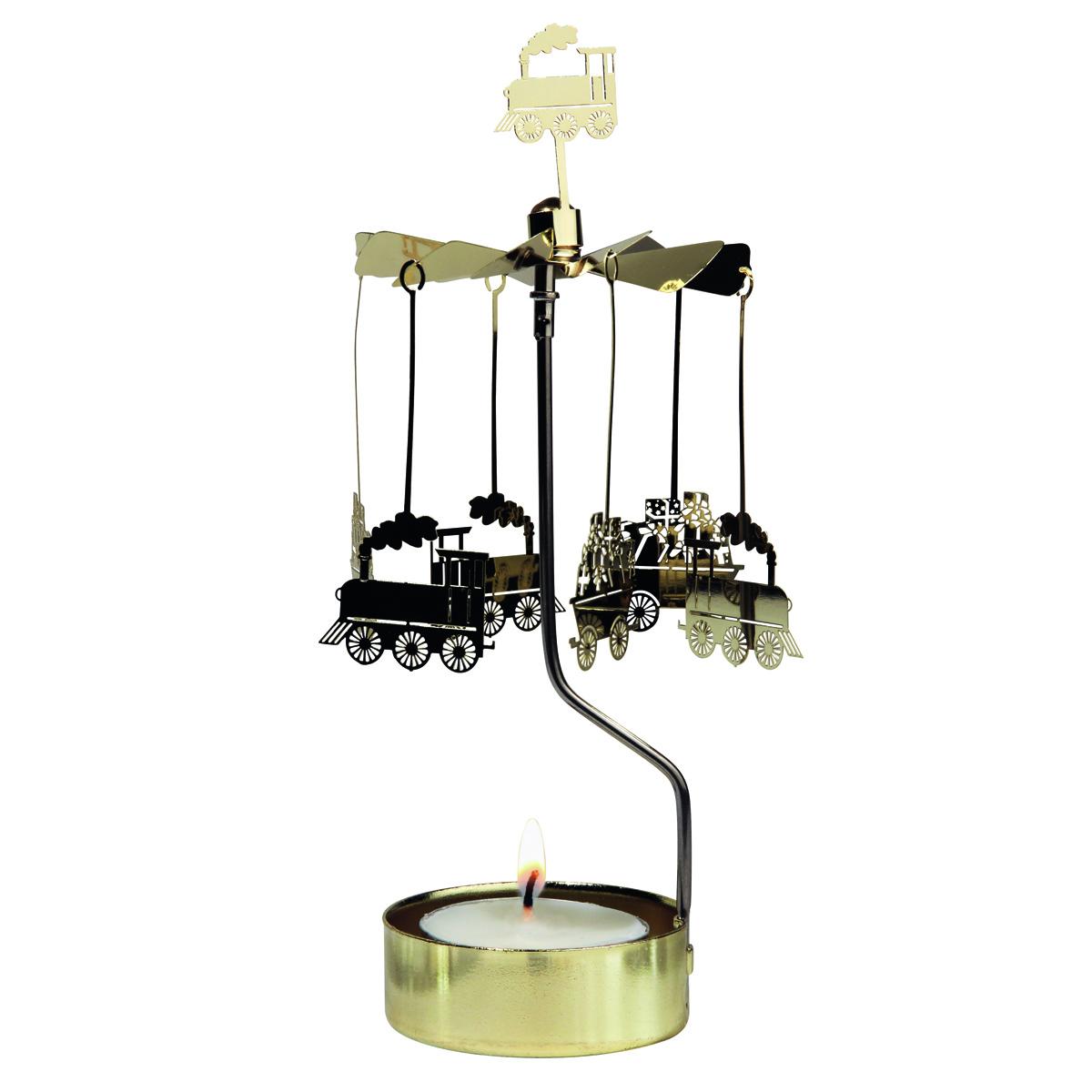 Bougeoir carrousel métal \'Train à Vapeur\' doré - 16x65 cm - [R0556]