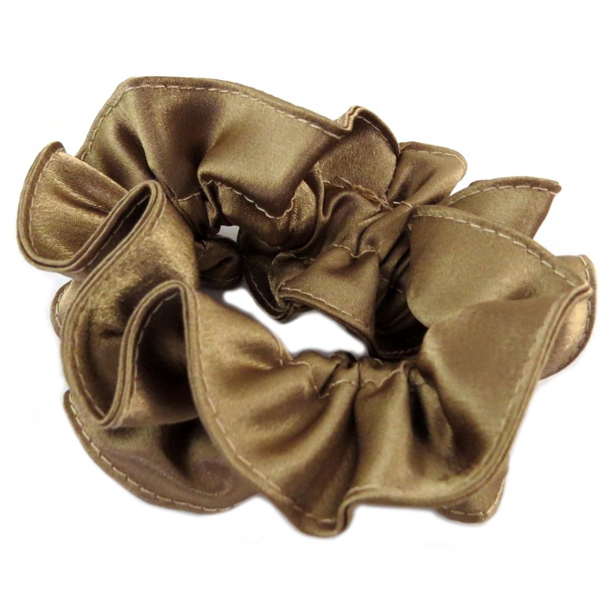 Chouchou créateur \'Sissi\' marron (satiné) - largeur 4 cm - [Q0100]