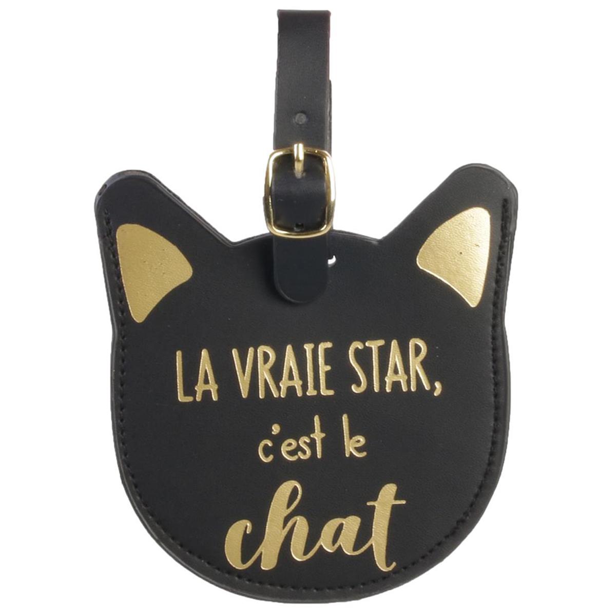 Porte-étiquette de bagage \'Chats\' noir doré (La vraie Star, c\'est le Chat) - 11x8 cm - [Q4778]