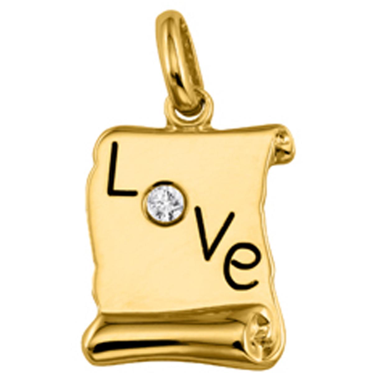 Pendentif Plaqué Or \'Love\' parchemin - [L0116]