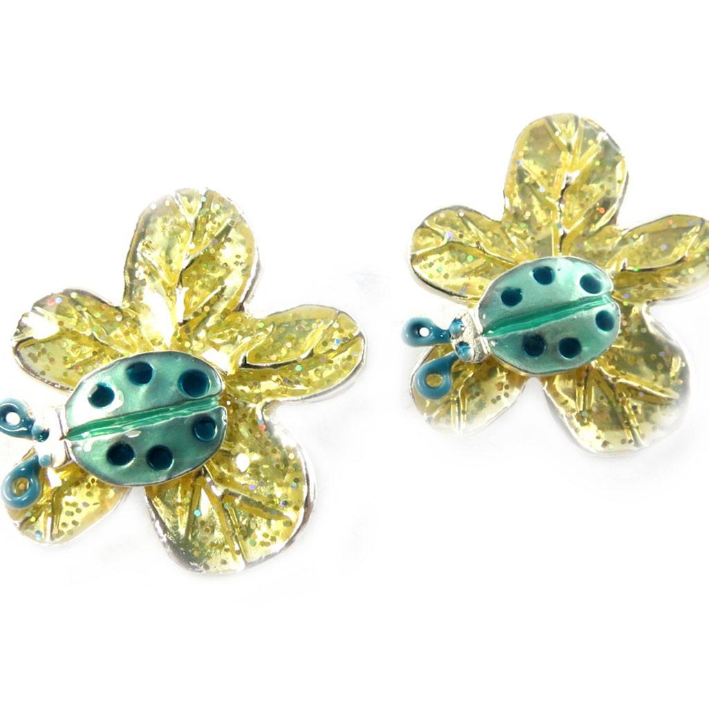 Boucles Créateur \'Flora\' vert jaune - [F9548]