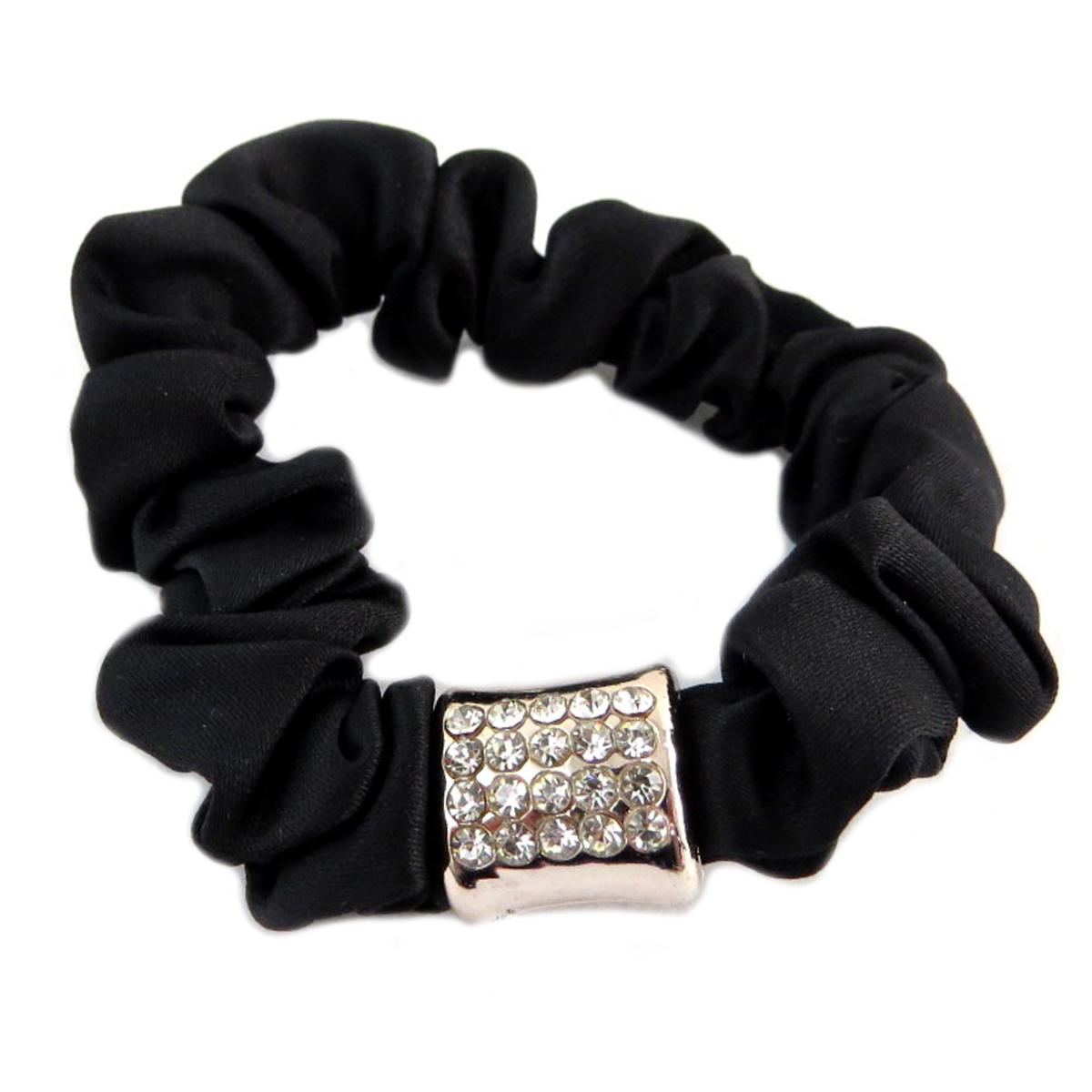 Chouchou créateur \'Sissi\' noir (satin) - largeur 1 cm - [Q0103]