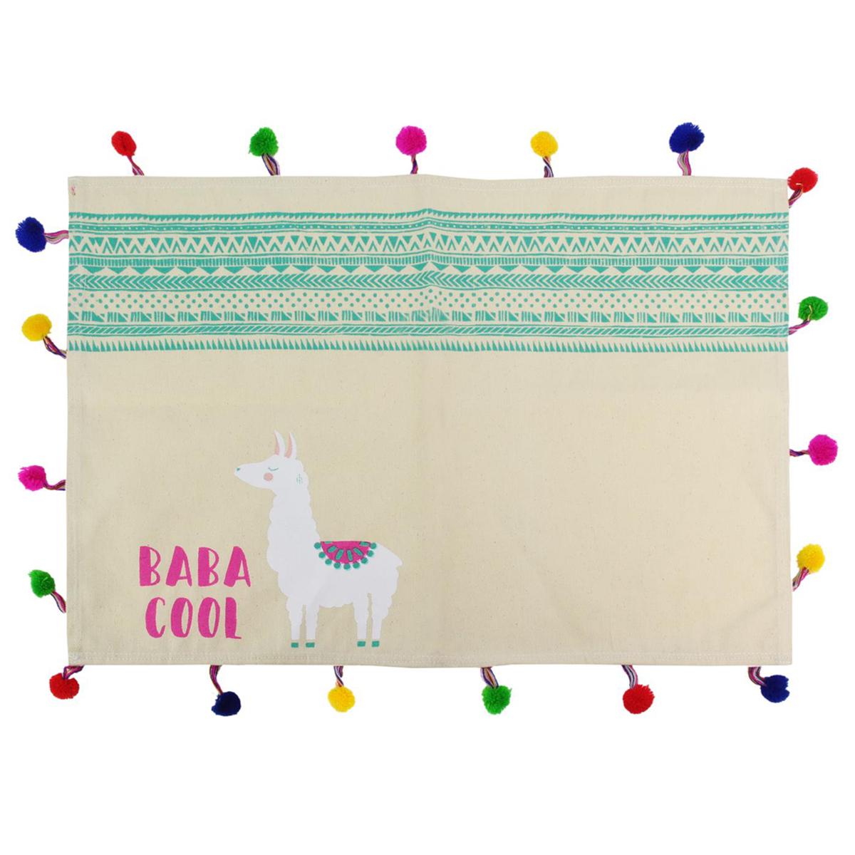Set de table coton \'Lama Mania\' vert beige (baba cool) - 33x48 cm - [Q4781]