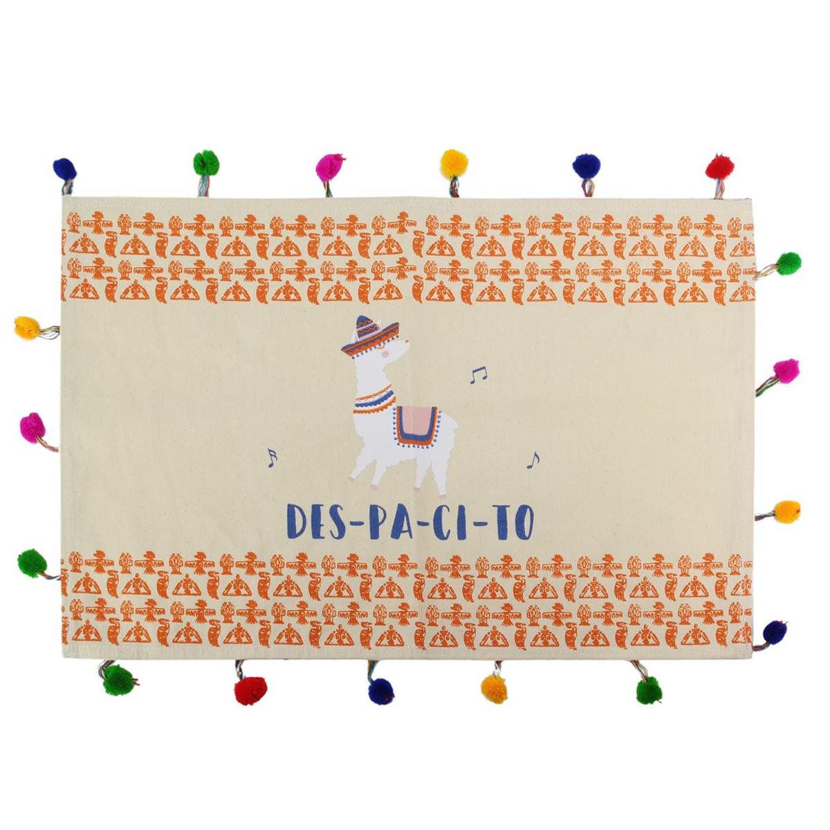 Set de table coton \'Lama Mania\' orange beige (Despacito) - 33x48 cm - [Q4782]