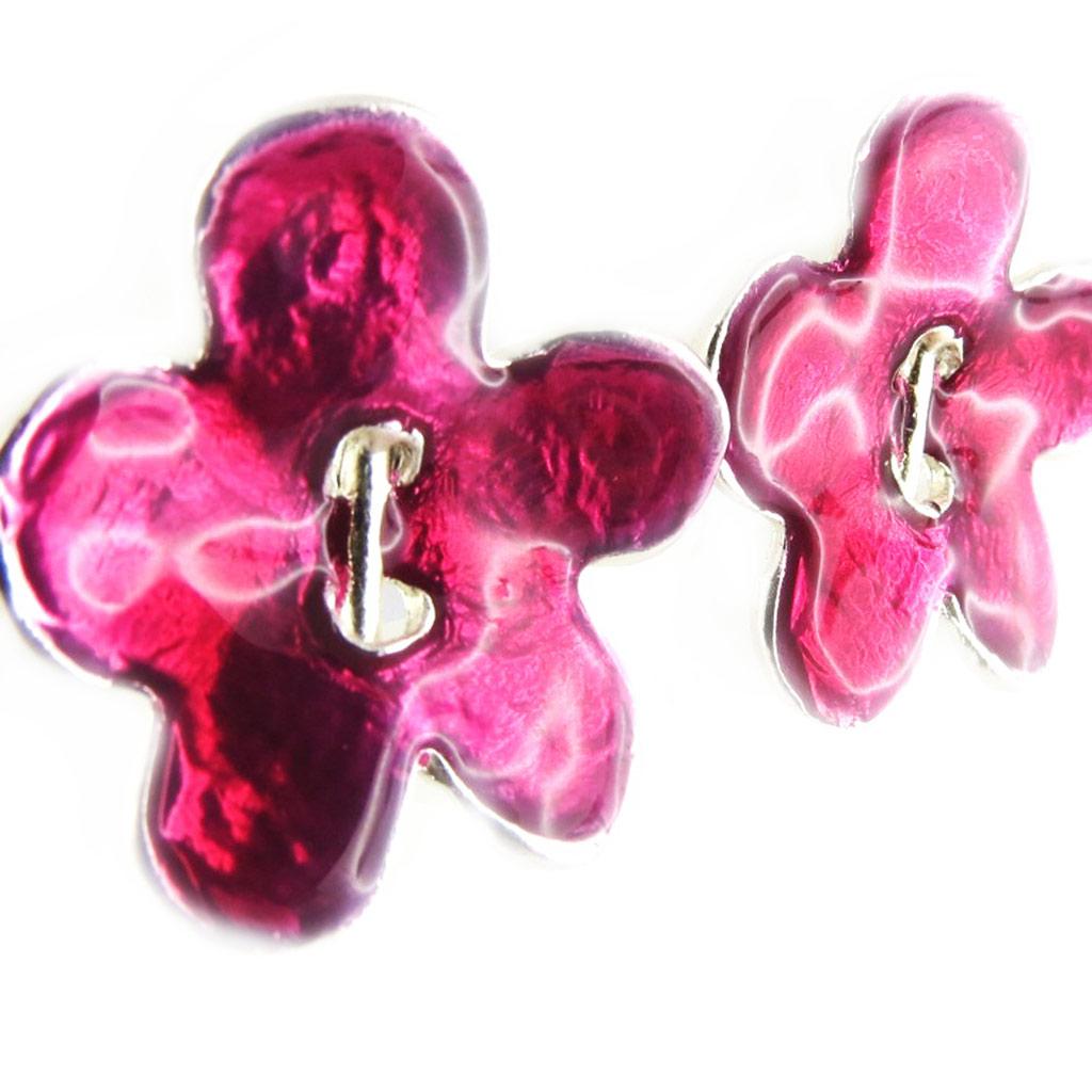 Boucles Créateur \'Flora\' rose argenté - [F9552]