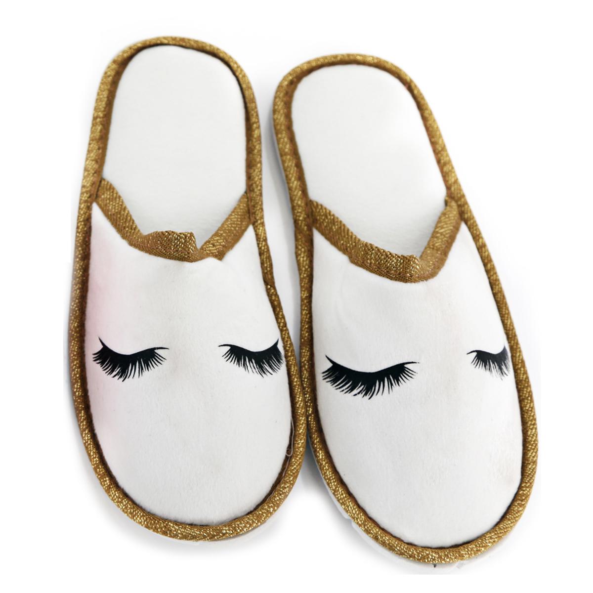 Chausson pantoufles \'Diva - Yeux Endormis\' blanc - taille S (34/37) - [A0048]