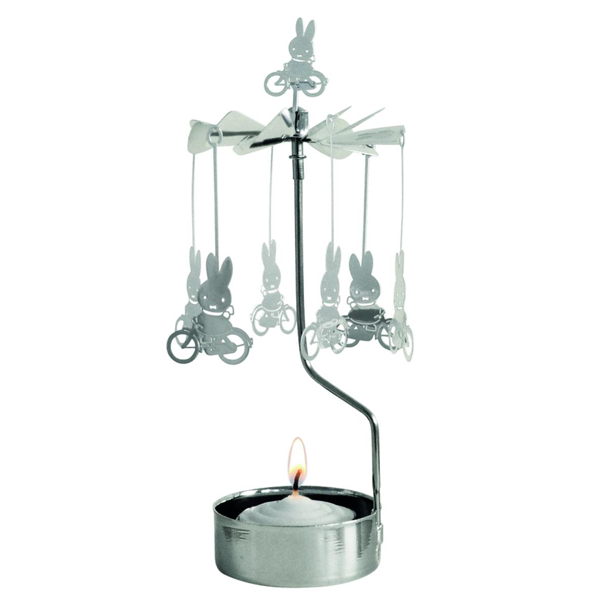 Bougeoir carrousel métal \'Miffy\' argenté (vélos) - 16x65 cm - [R0562]